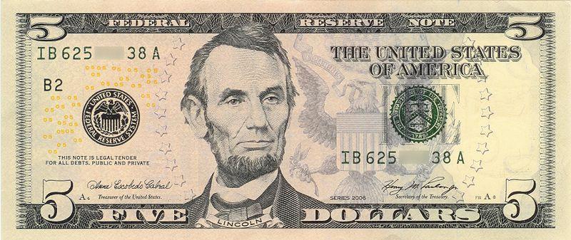 Купюра номиналом 10 долларов