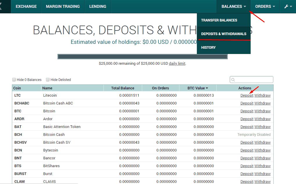 Ввод денежных средств Poloniex