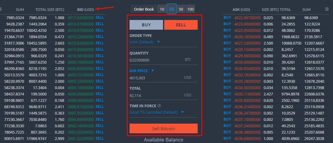 Стакан цен и настройка ордера биржи Bittrex